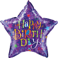 Purple Holographic 'Happy Birthday' Super Shape Foil Balloon